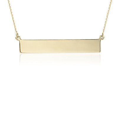 NEW Engraveable Bar Necklace in 14k Yellow Gold