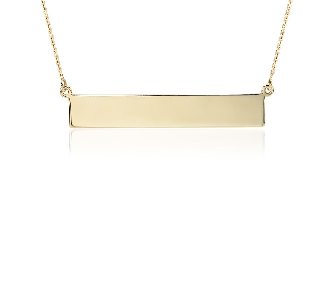 engraveable bar necklace in 14k yellow gold blue nile