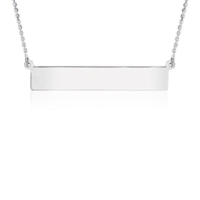Engraveable Bar Necklace in Sterling Silver