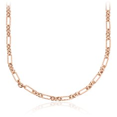 "Petite Figaro Necklace in Rose Gold Vermeil - 24"" Long"