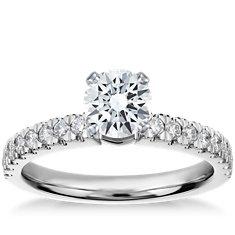 Anillo de compromiso de diamantes Nouveau en platino (1/3 qt. total)