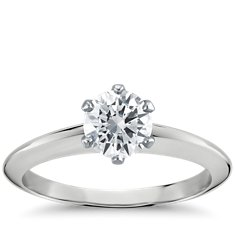 Six-Prong Nouveau Knife Edge Solitaire Engagement Ring in 14k White Gold