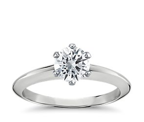 Six-Prong Nouveau Knife Edge Solitaire Engagement Ring in Platinum