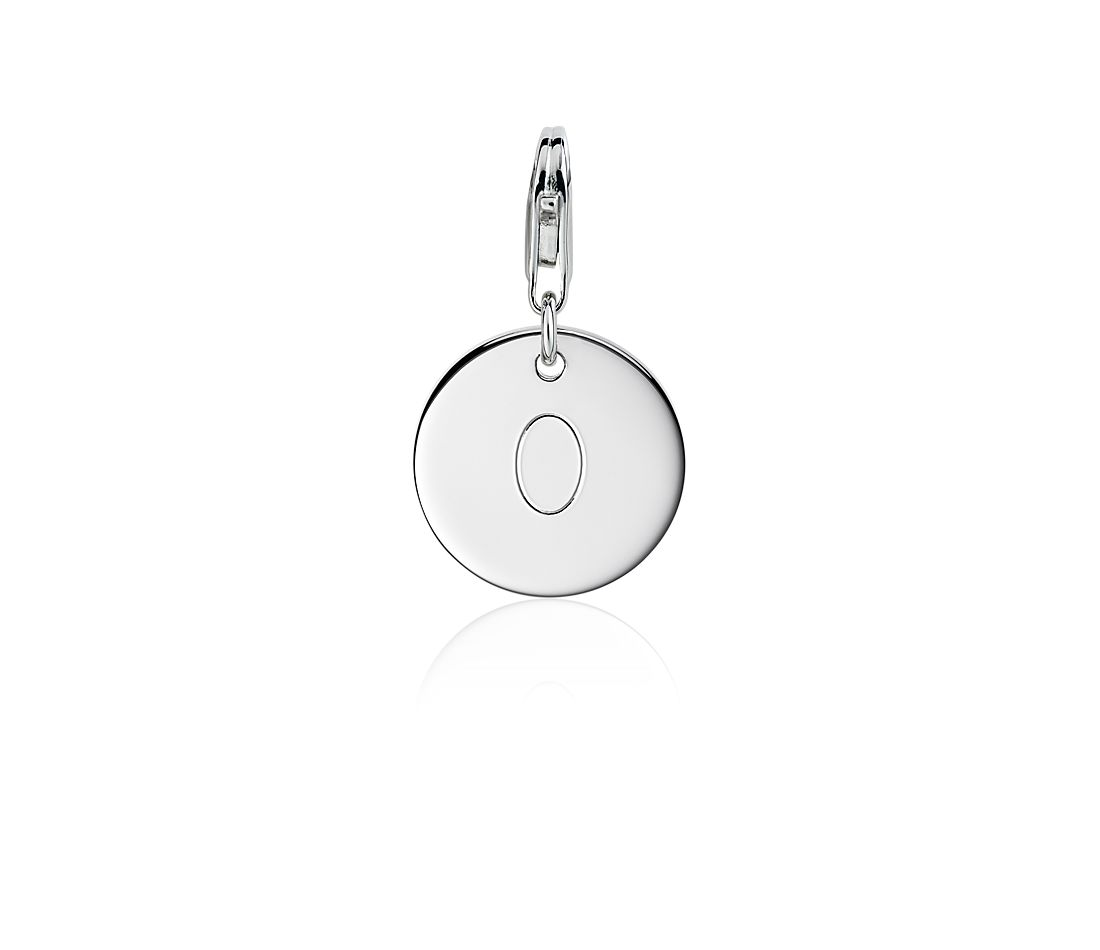 """O"" Initial Charm in Sterling Silver"