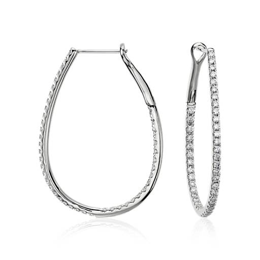 Long Diamond Hoop Earrings in 14k White Gold (1 ct. tw.)