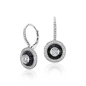 Blue Nile Studio Onyx and Diamond Drop Earrings in 18k White Gold