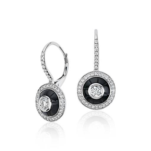 Pendants d'oreilles diamant et onyx Blue Nile Studio en or blanc 18carats