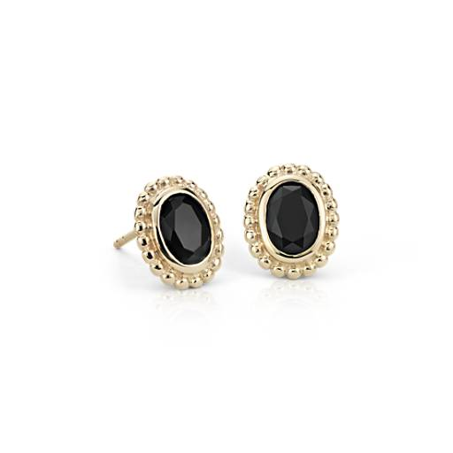Black Onyx Earrings in 14k Yellow Gold (7x5mm)
