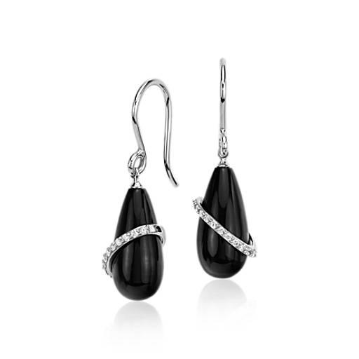 NEW Frances Gadbois Onyx Drop with Diamond Swirl Earrings in 14k White Gold
