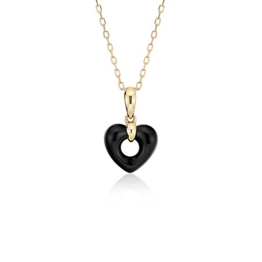 Onyx Open Heart Pendant 14K Yellow Gold (11x11mm)
