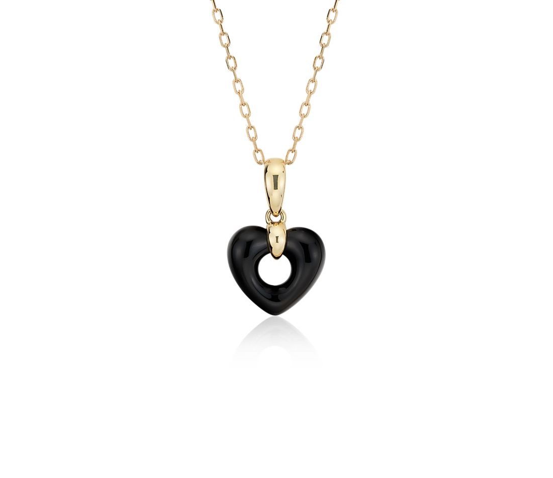 Onyx Open Heart Pendant 14K Yellow Gold