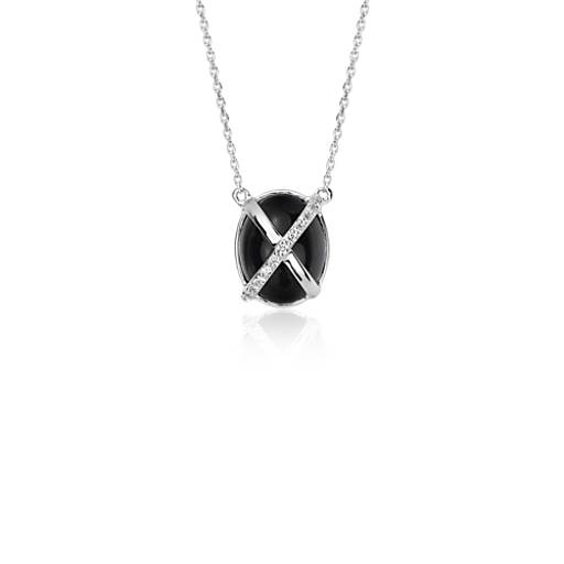 Frances Gadbois Onyx and Diamond Pendant in 14k White Gold (10x8mm)