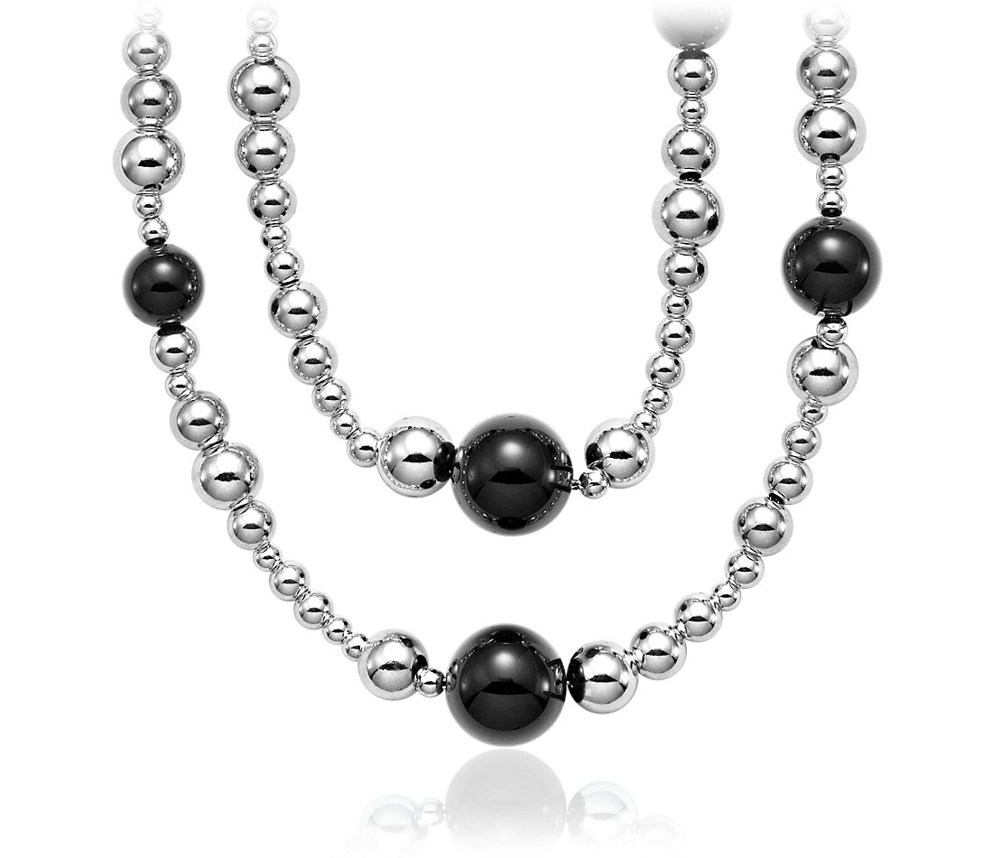 Bead Necklace in Black Onyx and Sterling Silver - 36