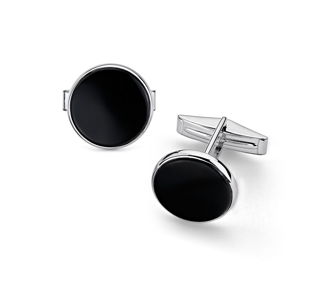 Large Round Onyx Cuff Link and Stud Set in Sterling Silver