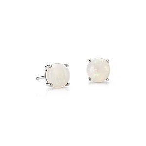 NEW Opal Earrings in 14k White Gold (7mm)