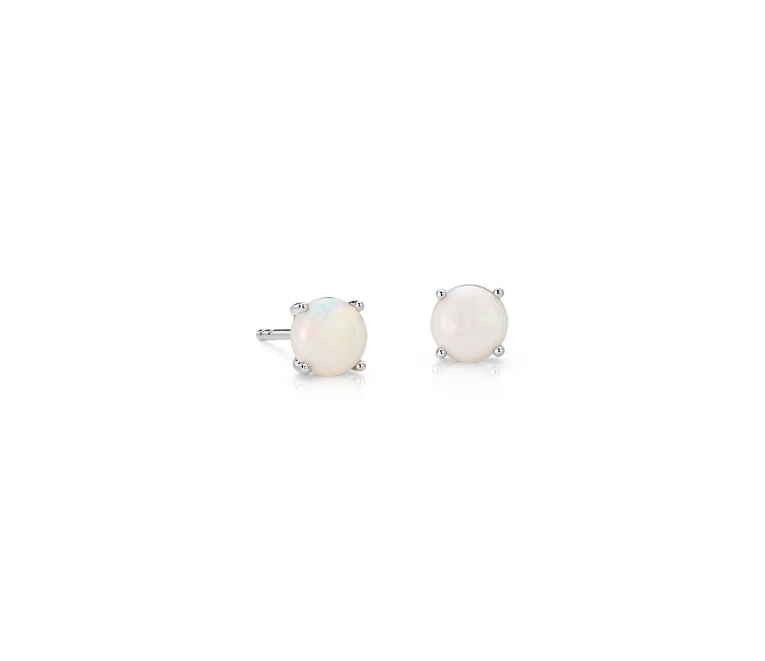 Opal Earrings in 18k White Gold (5mm)