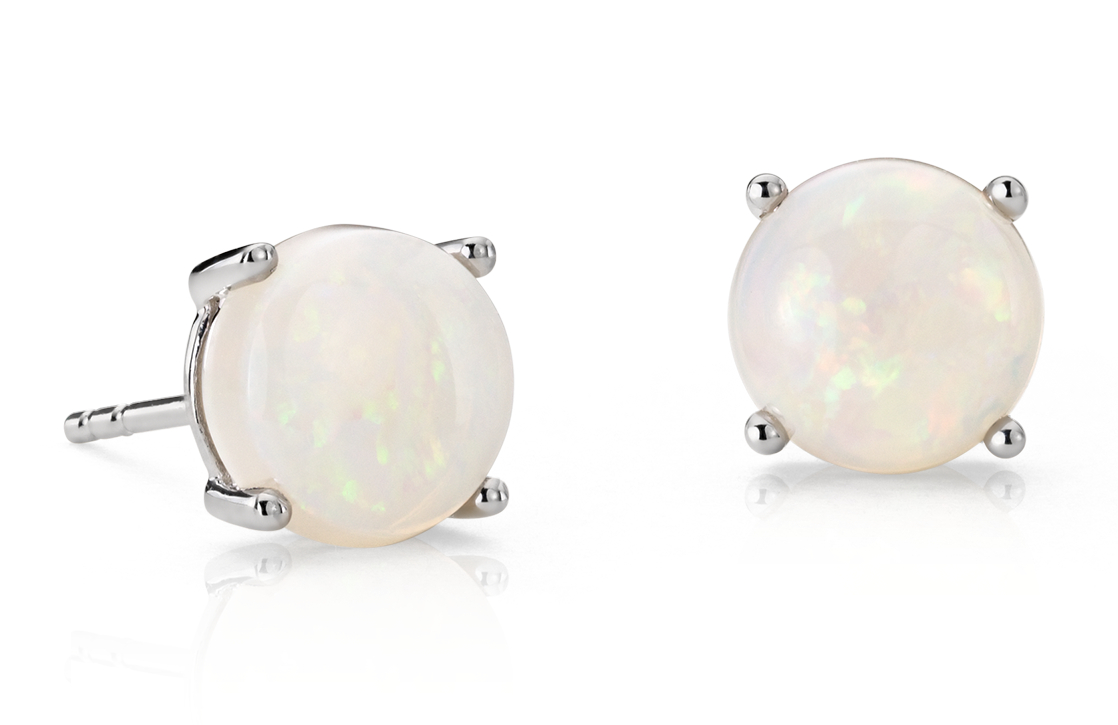 Opal Earrings in 18k White Gold (7mm)