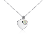 Opal Birthstone Heart Pendant in Sterling Silver (October) (4.5x4.5mm)