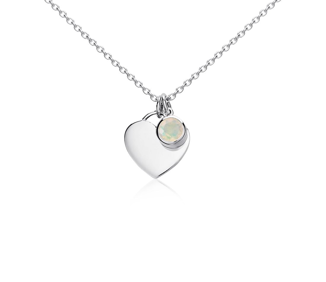 Opal Birthstone Heart Pendant in Sterling Silver