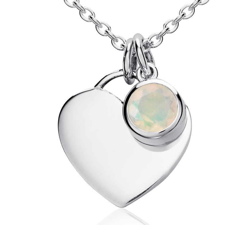Opal Birthstone Heart Pendant in Sterling Silver (October)