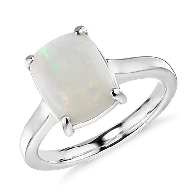 NEW Opal Cushion Cocktail Ring in 14k White Gold (10x8mm)