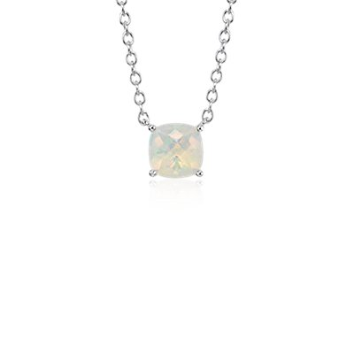 Opal Cushion Pendant in Sterling Silver (8mm)