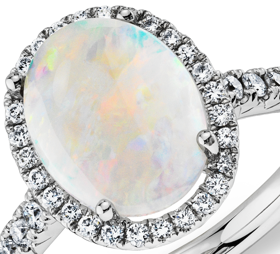 Opal and Diamond Ring in 18k White Gold (10x8mm)