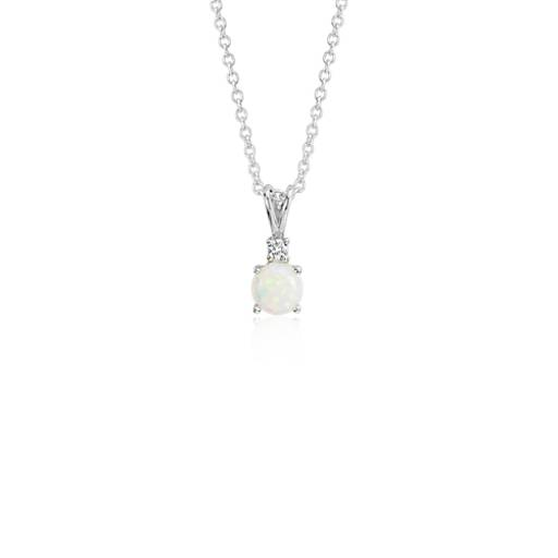 Opal and Diamond Solitaire Pendant in 18k White Gold (5mm)
