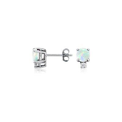 Puces d'oreilles diamant et opale en or blanc 18carats (5mm)