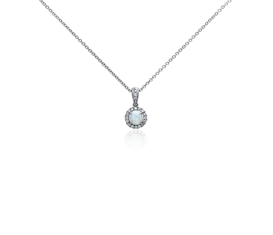 Opal and Micropavé Diamond Pendant in 18k White Gold (5mm)