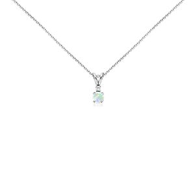 Pendentif solitaire diamant et opale en or blanc 18carats (5mm)