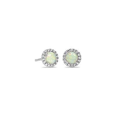 Puces d'oreilles en diamants sertis micro-pavé et opale en or blanc 18carats (5mm)