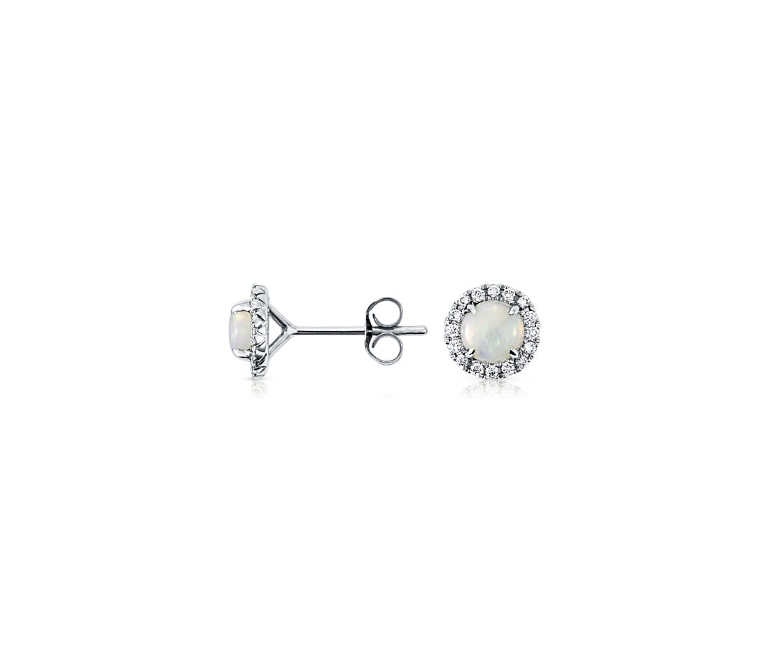 Opal and Micropavé Diamond Earrings in 18k White Gold (5mm)