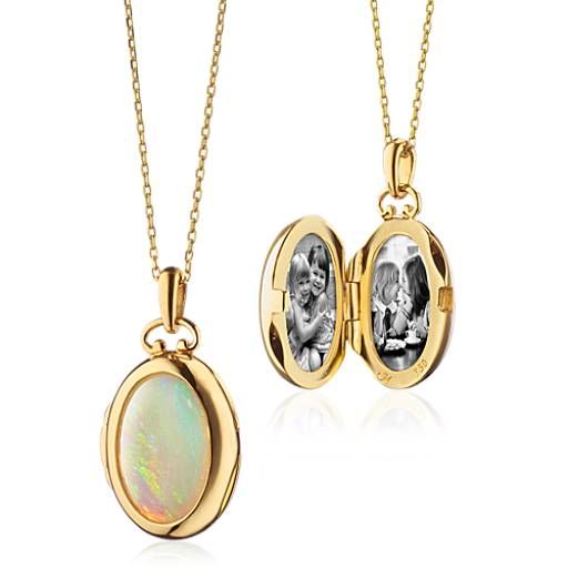 NEW Monica Rich Kosann Petite Oval Opal Locket in 18k Yellow Gold (Limited Edition)
