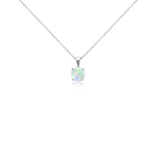 Opal Pendant in 18k White Gold (7mm)