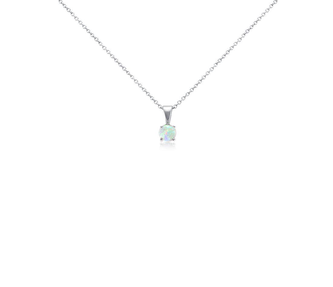Pendentif opale en or blanc 18carats (5mm)