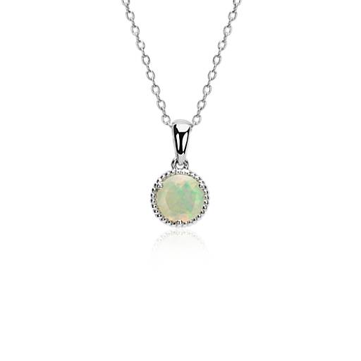 NEW Opal Rope Pendant in Sterling Silver (7mm)