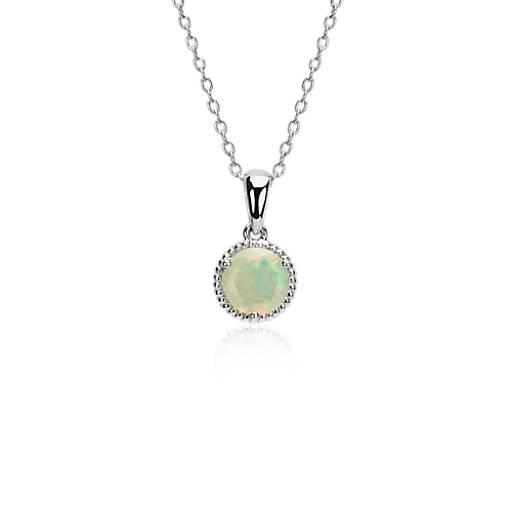 Pendentif corde opale en argent sterling (7mm)