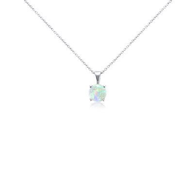 NEW Opal Pendant in 14k White Gold (7mm)