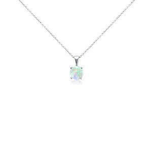 Opal Pendant in 14k White Gold (7mm)