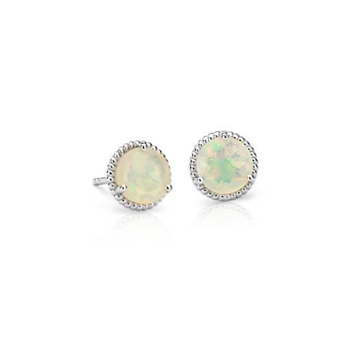 Puces d'oreilles corde opale en argent sterling (7mm)