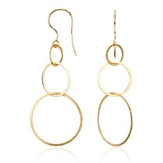 Open Circle Drop Earrings in 14k Yellow Gold