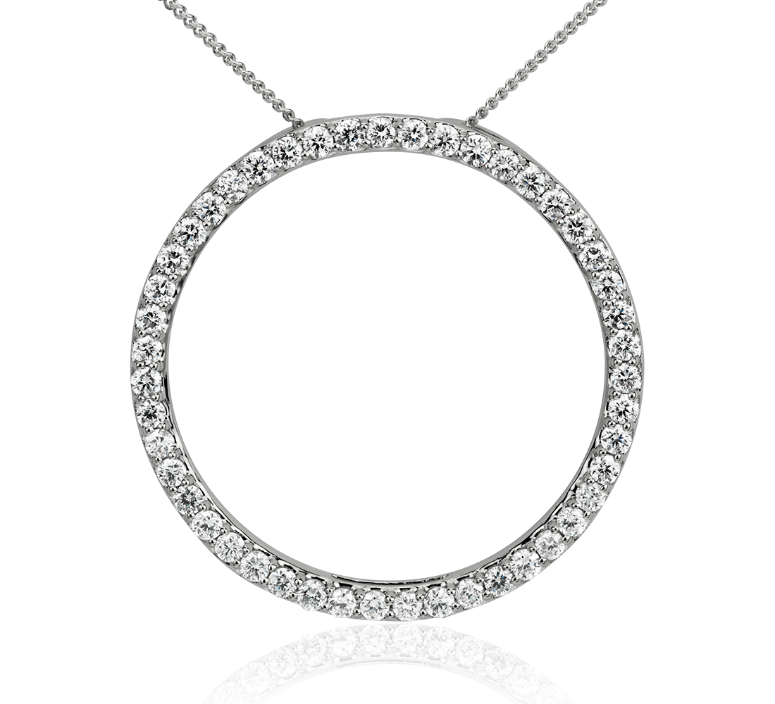 Diamond Circle Pendant in 14k White Gold (5/8 ct. tw.)