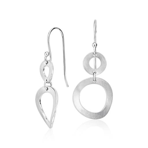Sculptured Dangle Earrings in Sterling Silver
