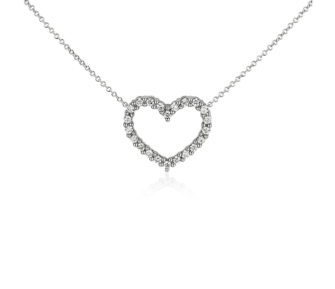 Collier diamant cœur en or blanc 14 carats
