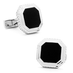 Opus Onyx Cuff Links in Sterling Silver
