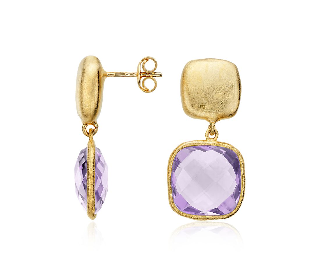 Organic Amethyst Dangle Earrings in Gold Vermeil