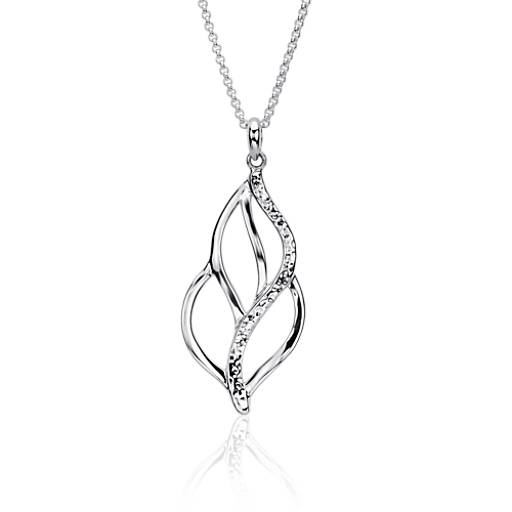 Long collier feuille naturelle en argent sterling (76 cm)