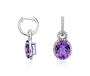 Amethyst and White Sapphire Halo Oval Drop Earrings in Sterling Silver