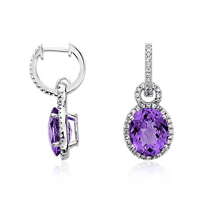Amethyst and White Sapphire Halo Oval Drop Earrings in Sterling Silver (10x8mm)